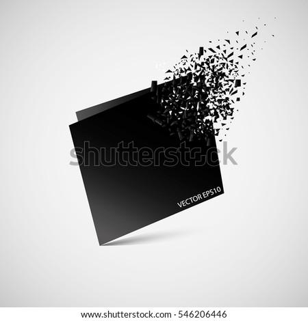 Stock Photo Black square on white background, disintegration . Abstract black explosion. Geometric background. Vector illustration.