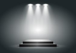 Black square podium on dark background. Empty pedestal for award ceremony. Platform illuminated by spotlights. Vector illustration.