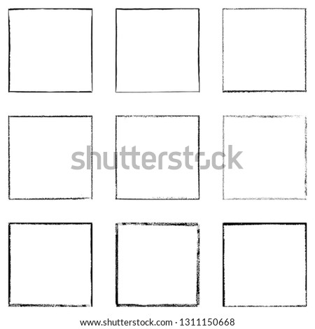 Black square shape distress overlay frame background set. Abstract Grunge thin dirty backdrop. Used aged border template. Shabby edge basis element. Retro cover aging design detail. EPS10 vector