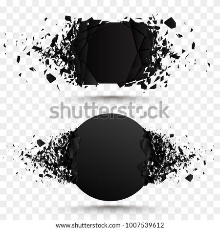 black square stone with debris