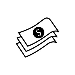 Black Stacks paper money cash line icon isolated. Money banknotes stacks. Banknote Illustration business concept. Trendy flat style for app, graphic, infographic, web, ui, ux, dev. Vector EPS 10.