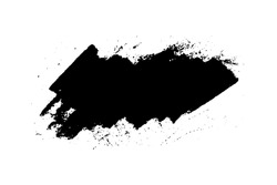 Black stain of paint brush with jagged edges isolated on white background. Hand drawn spot of paint, ink. Grunge dye splash. Copy space banner. Vector grain illustration for substrate, base, frame