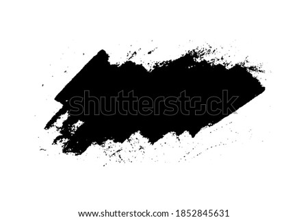 Black stain of paint brush with jagged edges isolated on white background. Hand drawn spot of paint, ink. Grunge dye splash. Copy space banner. Vector grain illustration for substrate, base, frame Stock foto ©
