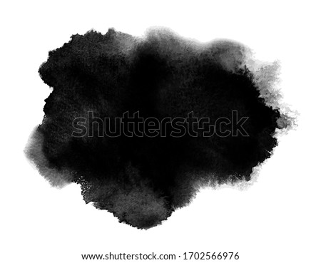 Black stain of watercolor paint. Vector with artistic wash, blot and splashes. Aquarelle background with paper texture. Abstract shape with brush strokes