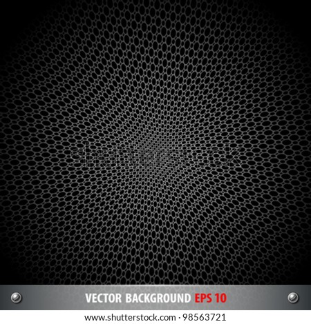 Black stainless steel stencil circle on black background, vector illustration