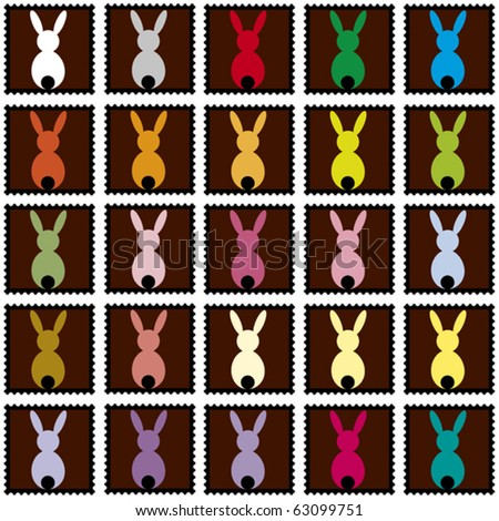 black stamps with colored rabbits