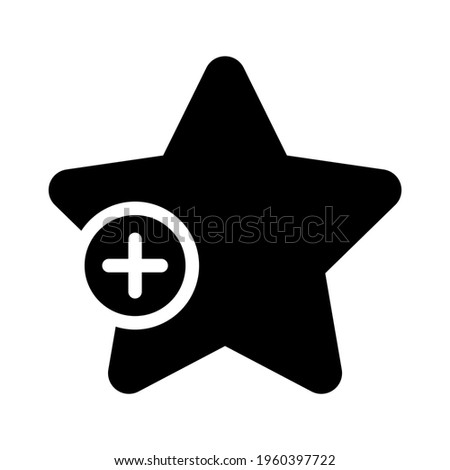 Black star and plus sign. Add to favourites or bookmarks button. Vector illustration isolated on white background.