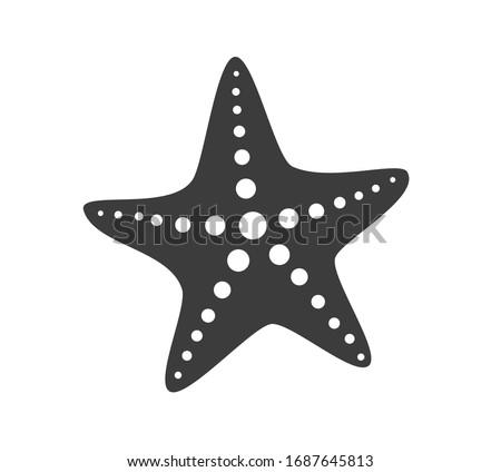 black starfish icon vector