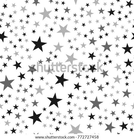 black stars seamless pattern on
