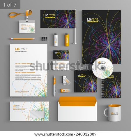 Black stationery template design with art color lines. Documentation for business.