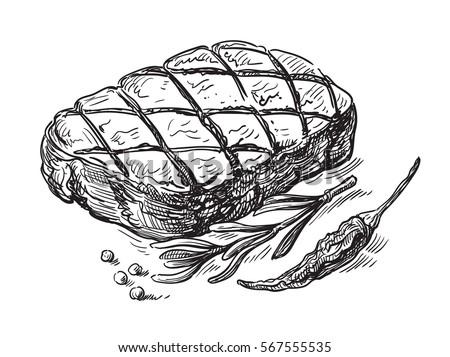 black steak symbol vector illustration on white