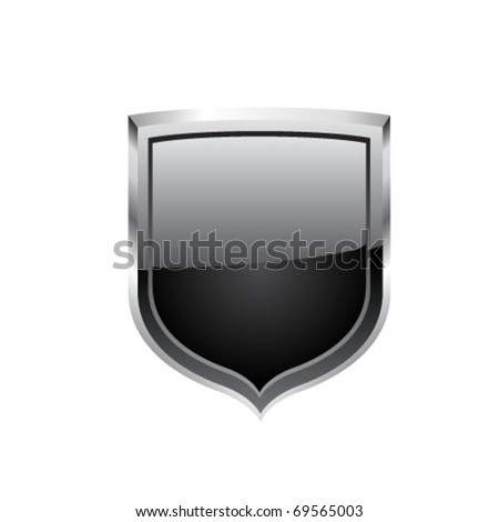 Black steel shield - stock vector