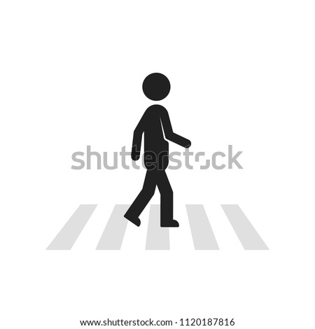 black stick figure man like pedestrian. concept of crosswalk crossing across the street or urbanistics element. flat style trend modern logotype graphic art design isolated on white background