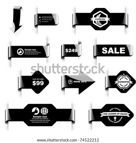 Black sticker and  badge set. Design elements for sale banner. Warranty tags.