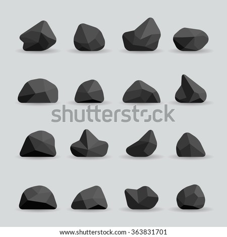 black stones in flat style