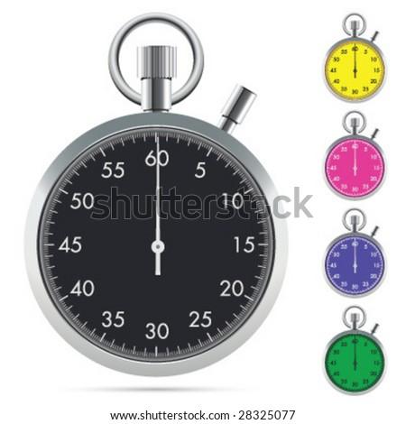 Black stopwatch - stock vector