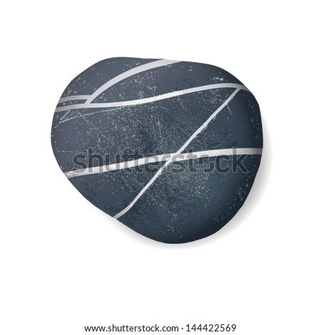 black striped pebble on white