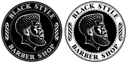 Black style, barber shop. New logo designs for some Afro American hairdresser. Head of cool bearded black man with a taper fade haircut. Barber's poles and curved vintage font in the round frames.