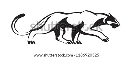 Black stylized silhouette of panther. Vector wildcat illustration. Animal isolated on white background as logo, mascot or tattoo.