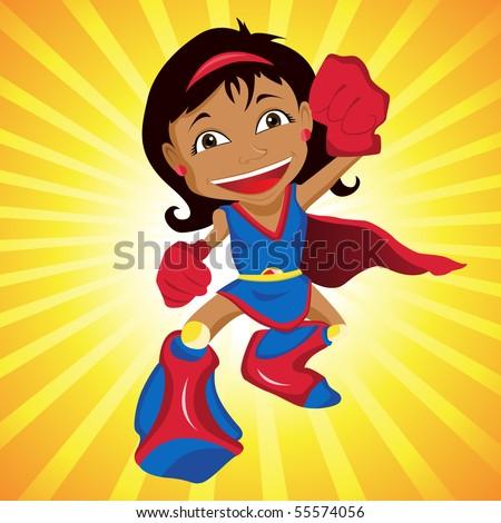 Black Super hero Girl. Editable Vector Illustration