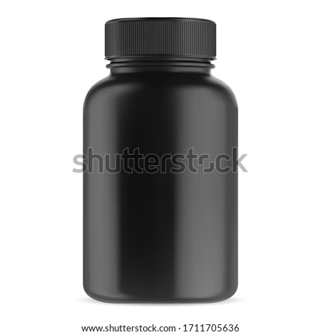 Black supplement bottle. Vitamin pill container vector template. Glossy plastic packaging mockup 3d design. Big medicament capsule jar for pharmacy. Bodybuilding sport drug can