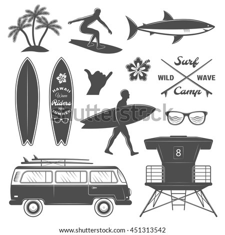 black surfing isolated icon set
