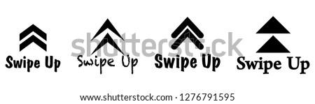 Black swipe up vector. Swipe up set  stories vector.