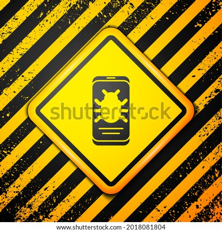 Black System bug on mobile icon isolated on yellow background. Code bug concept. Bug in the system. Bug searching. Warning sign. Vector