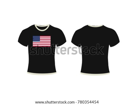 Black t-shirt, clothes on isolated white background,T-shirt template set, front, side, back view. Vector eps 10 illustration,t-shirt and background flag of United States of America.