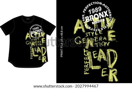 black t shirt design, grunge teks texture print, clothing apparel garment style. Stok fotoğraf ©