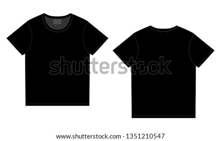 Black t-shirt design template. Front and back vector. Technical sketch unisex t shirt