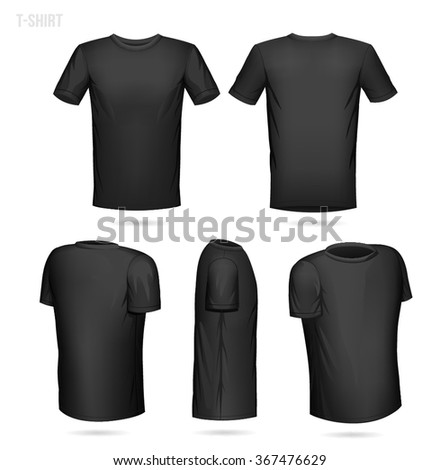 Black T-shirt 5 sides (front, back, 2/4 both left and right and side view) - Shutterstock ID 367476629