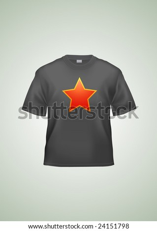 Black T-shirt unisex template (illustration contains gradient mesh elements!). Star can be easily removed.