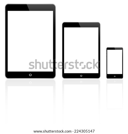 black tablet and smartphone
