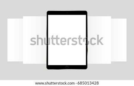 Black tablet computer iPad Pro app screen mockup. Blank wireframing screens. Web-design concept to display app screenshots. Vector illustration
