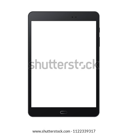 Black tablet computer mock up with blank screen isolated on white backround - front view. Vector illustration