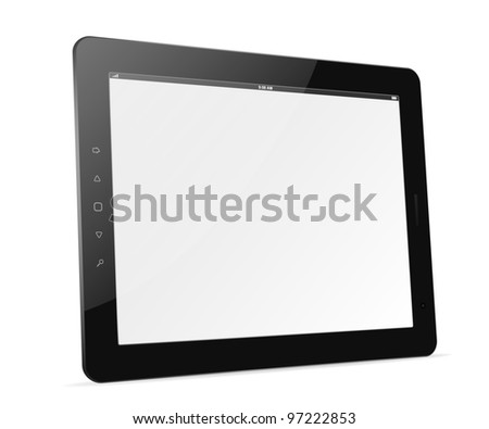 Black tablet pc isolated of background. EPS10 vector illustration