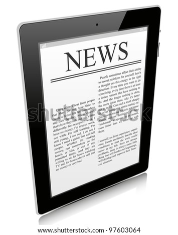 Black tablet pc isolated on white background - stock vector