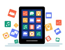 Black tablet with cloud of application icons and  Apps icons flying around them, isolated on White background. Flat Illustration