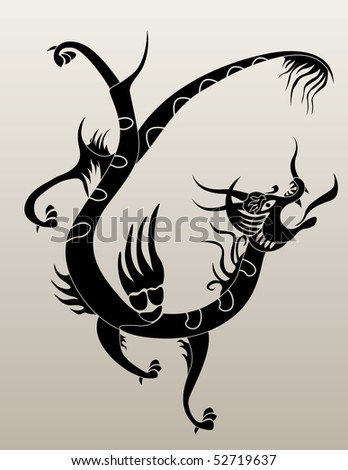 stock vector : Black tattoo Asian Dragon for design