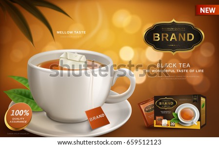 black tea ad, with hot tea and tea bag in white cup, blur background 3d illustration