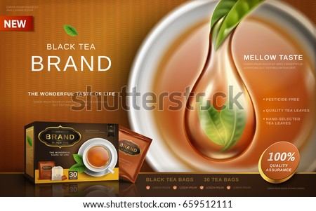 black tea ad with pure tea special effect, tea cup background 3d illustration