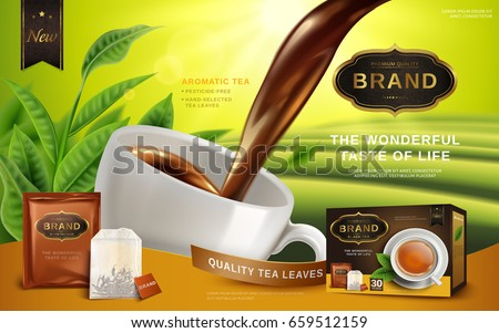 black tea ad, with tea leaves and package box, 3d illustration