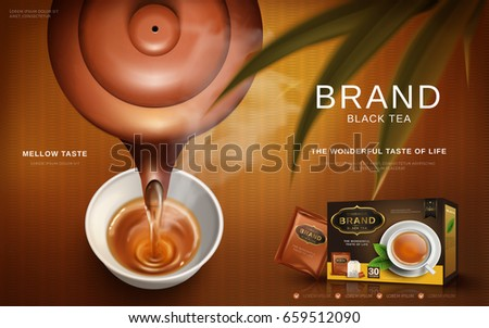 black tea ad with traditional Chinese tea pot pouring hot tea into a cup, 3d illustration