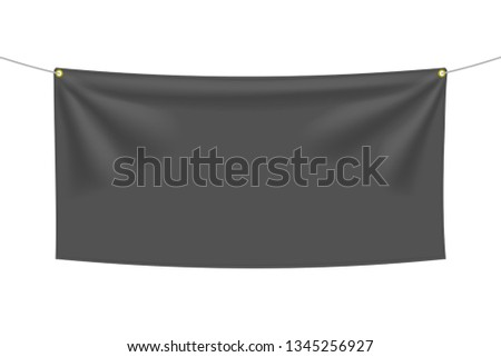 Black textile banner with folds, isolated on white background. Blank hanging fabric template, empty mockup. Vector illustration #1345256927