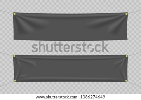 Black textile banners with folds. Blank hanging fabric template set. Vector illustration #1086274649