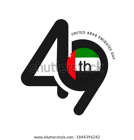 Black 49th Number With National Flag Label Or Sticker On White Background For United Arab Emirates Day.