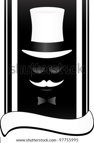 black theater symbol of face with mustache and hat
