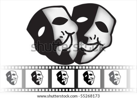 theatre mask clipart. black theatrical mask of