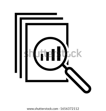 black thin line assessment logo. concept of annual taxes, seo, scrutiny, info list page evaluation, web analytics, service, glass. flat style trend modern logotype graphic design Stockfoto ©